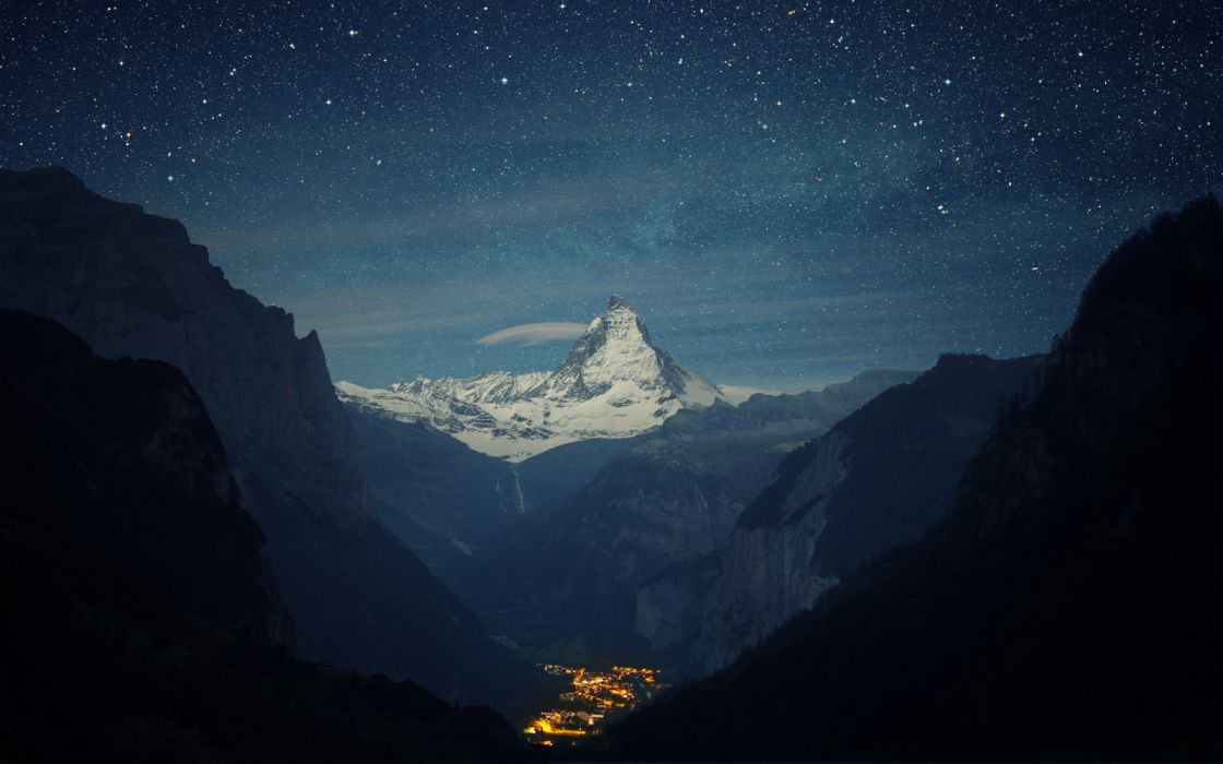 City Landscape Light Matterhorn Mountain Night Peak Starry Sky Switzerland Town Valley wallpaper