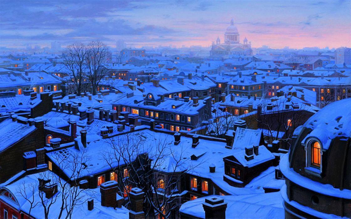 House Light Night Russia Saint Petersburg Snow Town Winter wallpaper