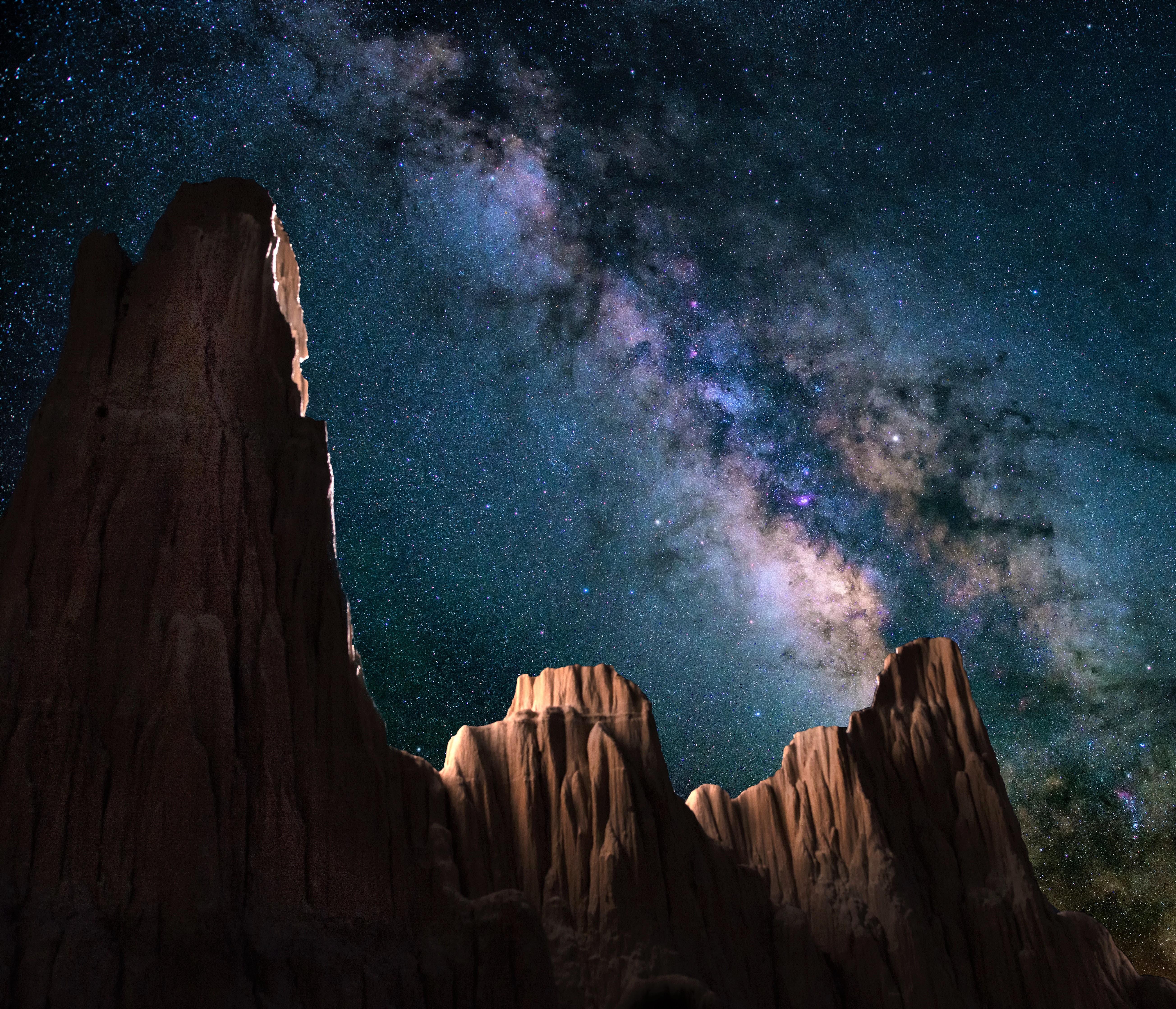 Milky Way Wallpaper: Earth Galaxy Milky Way Mountain Night Sky Starry Sky Stars
