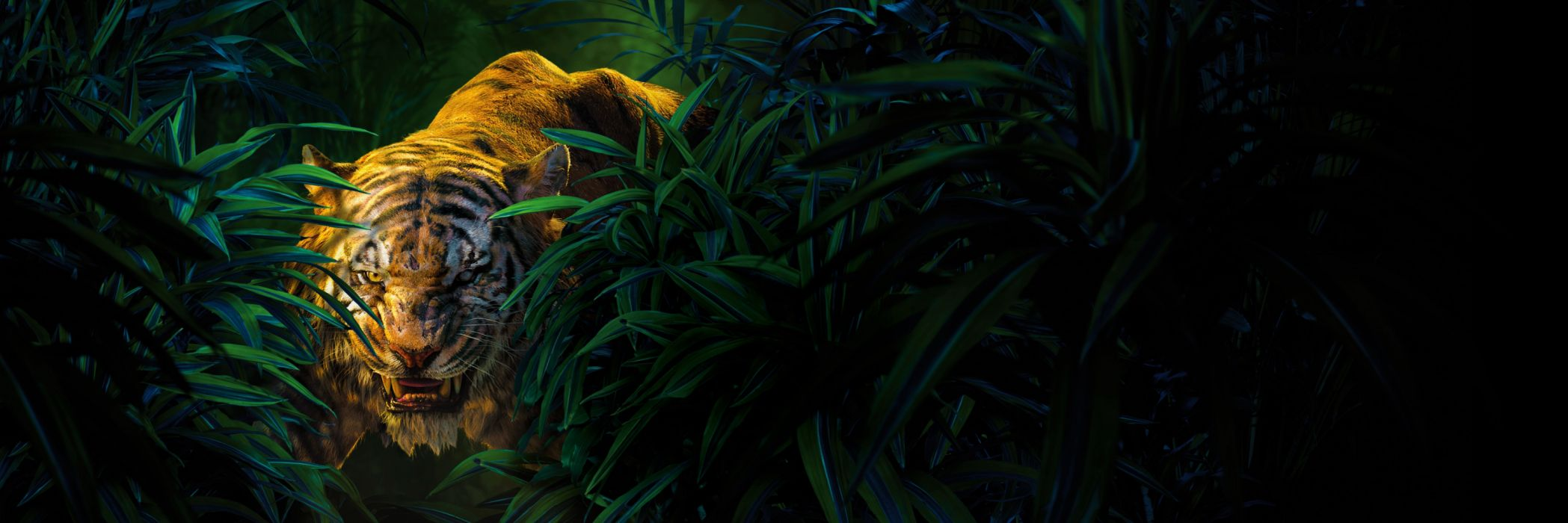 Animal Close-Up Green Leaf Movie Shere Khan The Jungle Book The Jungle Book (2016) Tiger wallpaper
