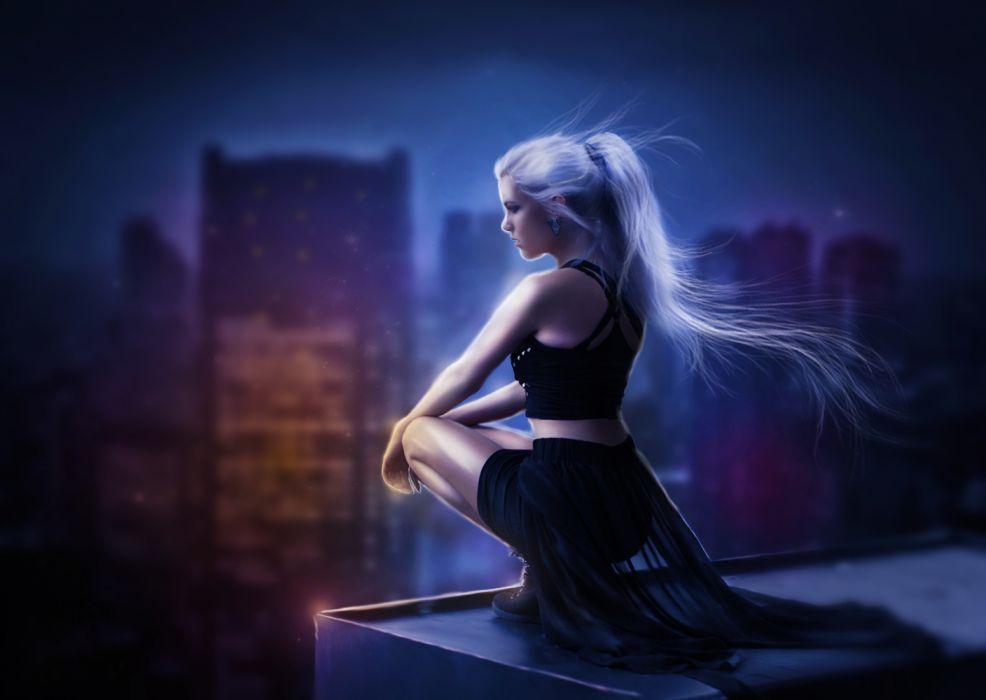 Fantasy Girl With White Hair Art