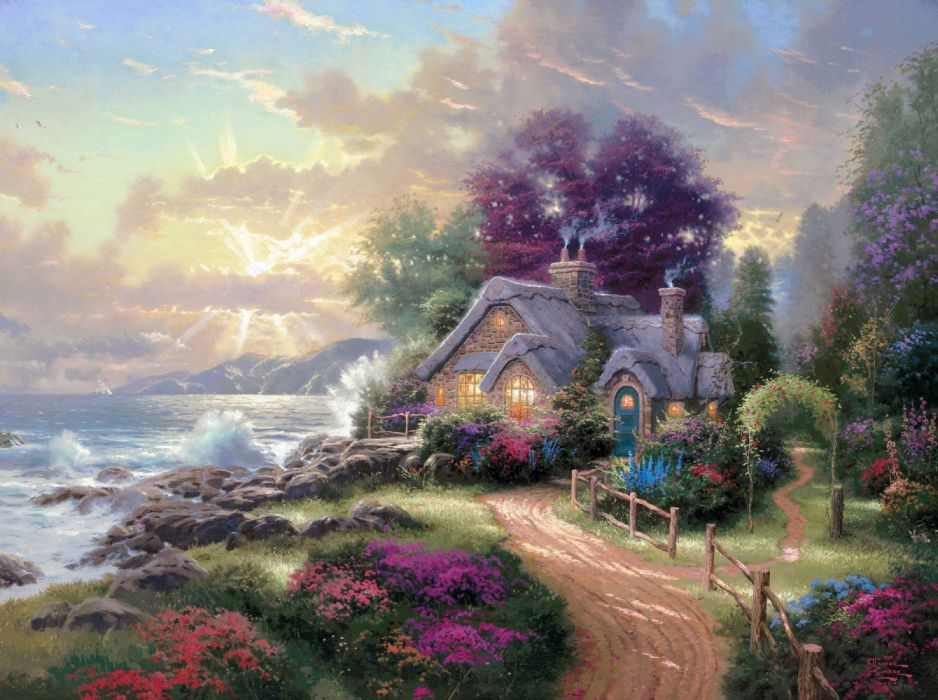 Artistic Colorful Cottage Ocean Painting Sunset wallpaper