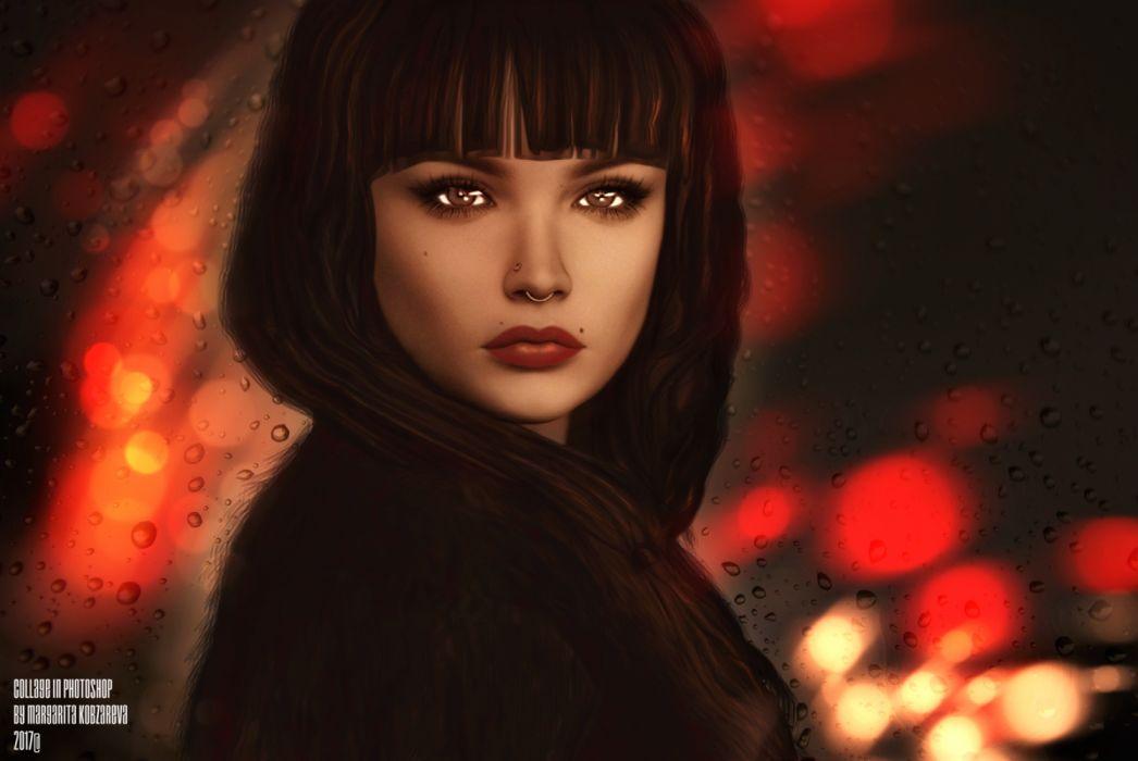 Artistic Brown Hair Girl Lipstick Night Rain Woman wallpaper