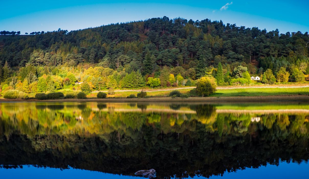 Ireland Forests Rivers Autumn Wicklow Reflection wallpaper
