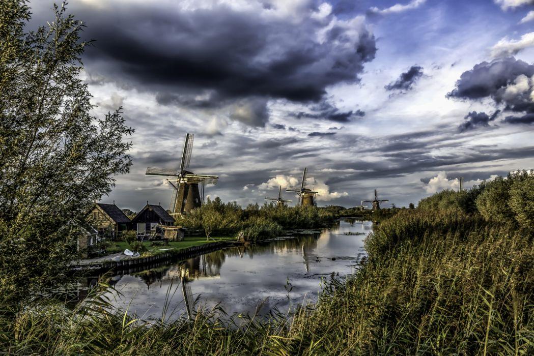 Netherlands Rivers Sky Kinderdijk Mill Clouds 539641 2600x1736 wallpaper