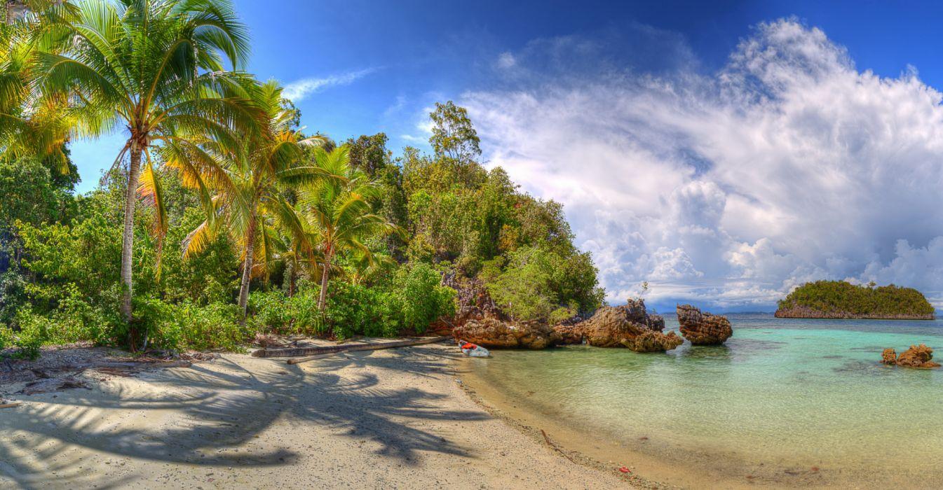 Indonesia Tropics Coast Lelintah West Papua Palms 539372 4225x2200 wallpaper