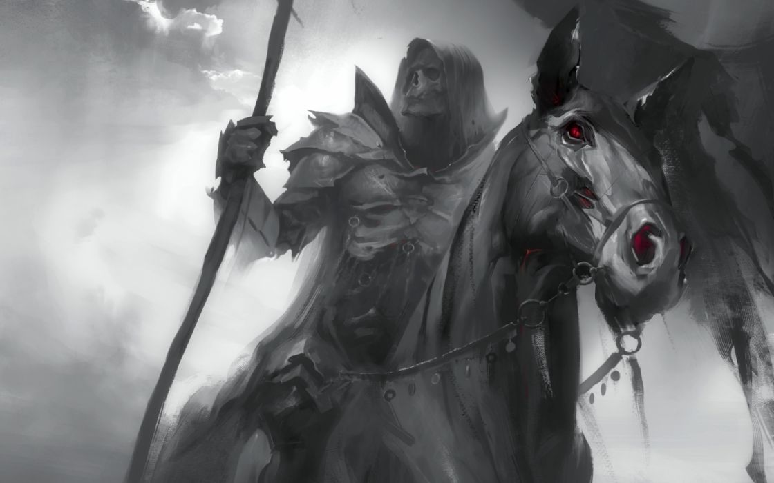 demons animals horses military objects black and white widescreen wallpaper