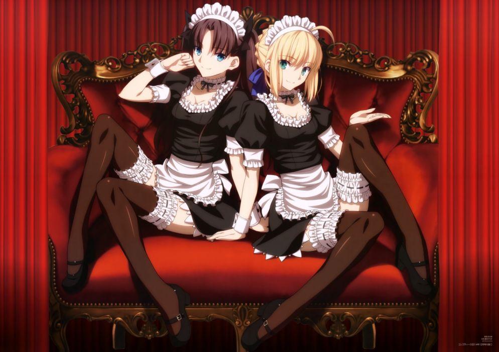2 mujeres manga anime sirvientas sentadas sillon wallpaper