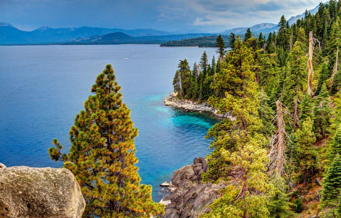 USA Lake Scenery Forests coast of california wallpaper