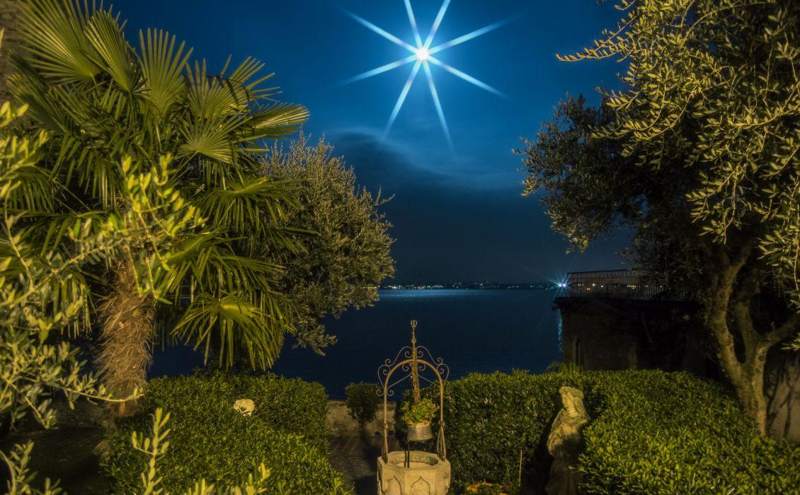 Italy Coast Sirmione Lombardy Night Moon Palma palm trees on the shore wallpaper
