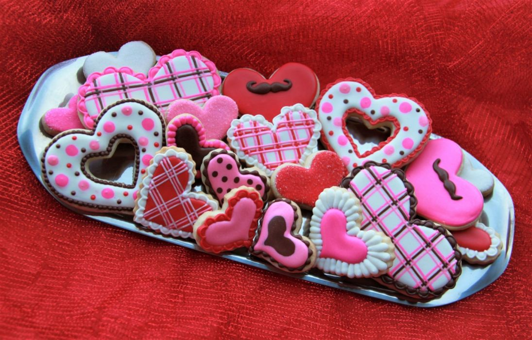 Colorful Cookie Food Heart Heart-Shaped Valentine's Day ...