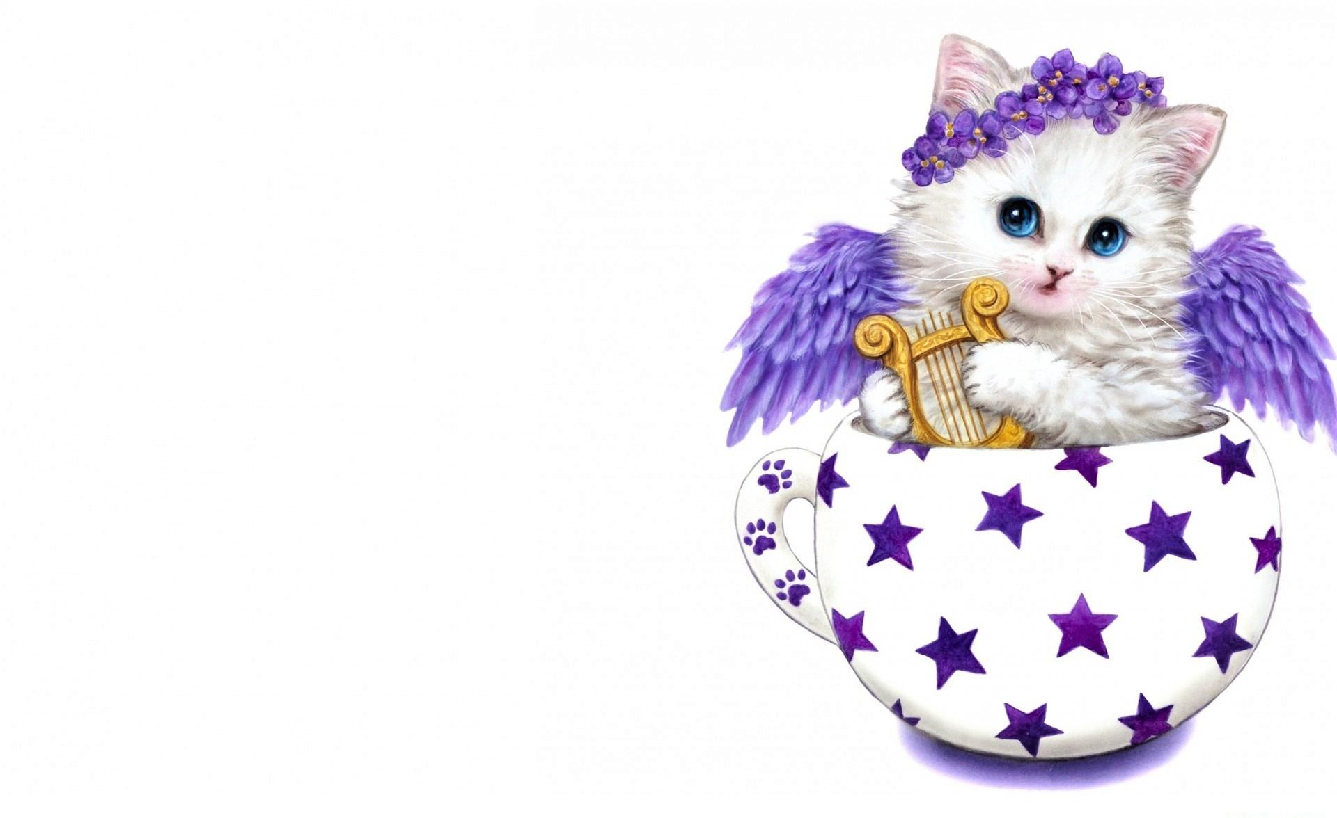 Angel Artistic Cup Harp Kitten Purple Wings Wreath ...