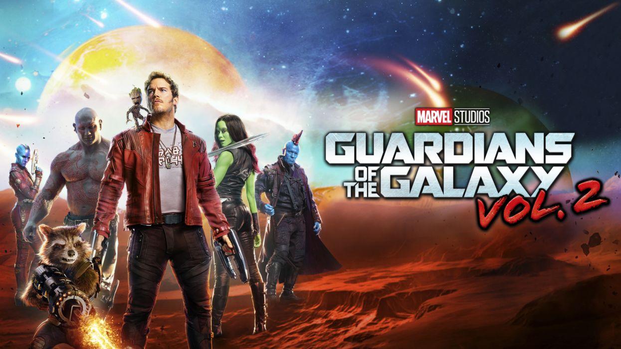 Baby Groot Chris Pratt Dave Bautista Drax The Destroyer Gamora Groot Guardians of the Galaxy Vol 2 Nebula wallpaper
