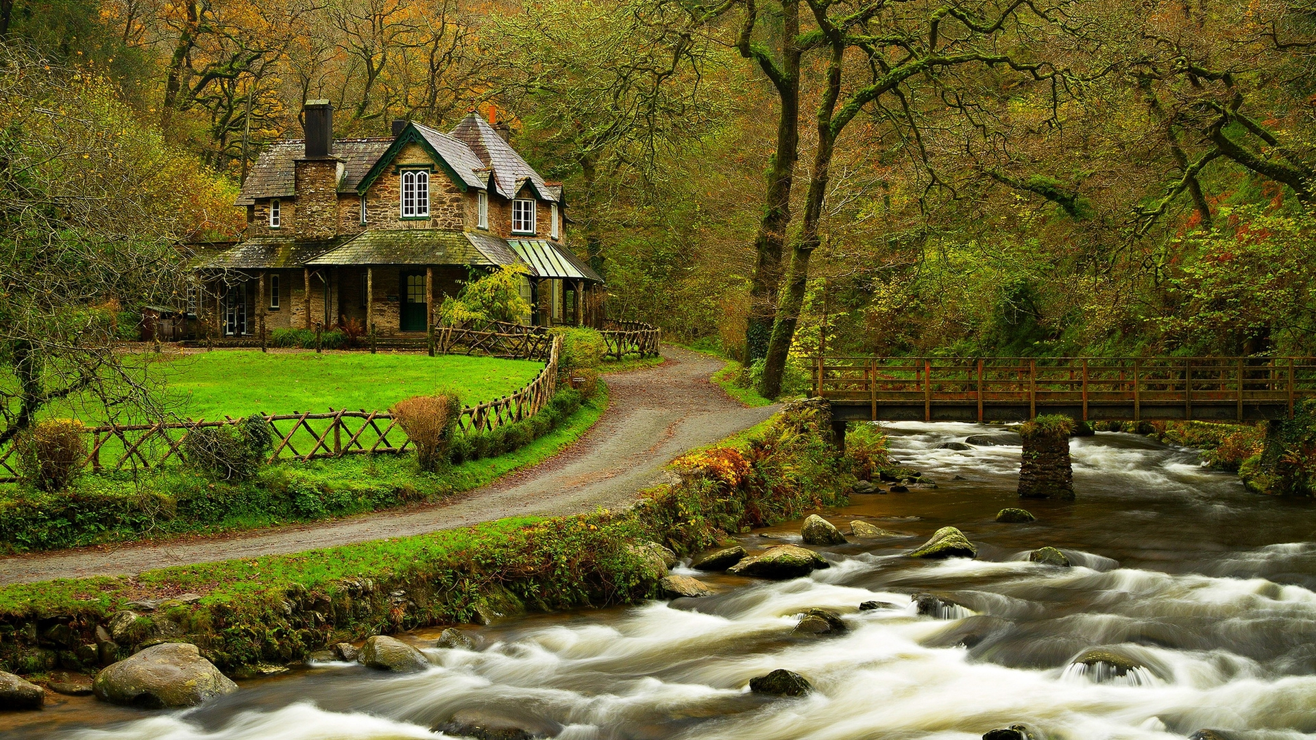 House In The Woods Wood Trees River Wallpaper 1920x1080 1199694 Wallpaperup