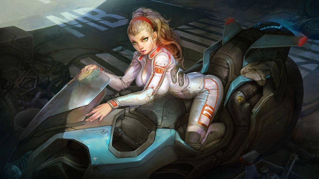 mujer moto futuro ciencia ficcion wallpaper