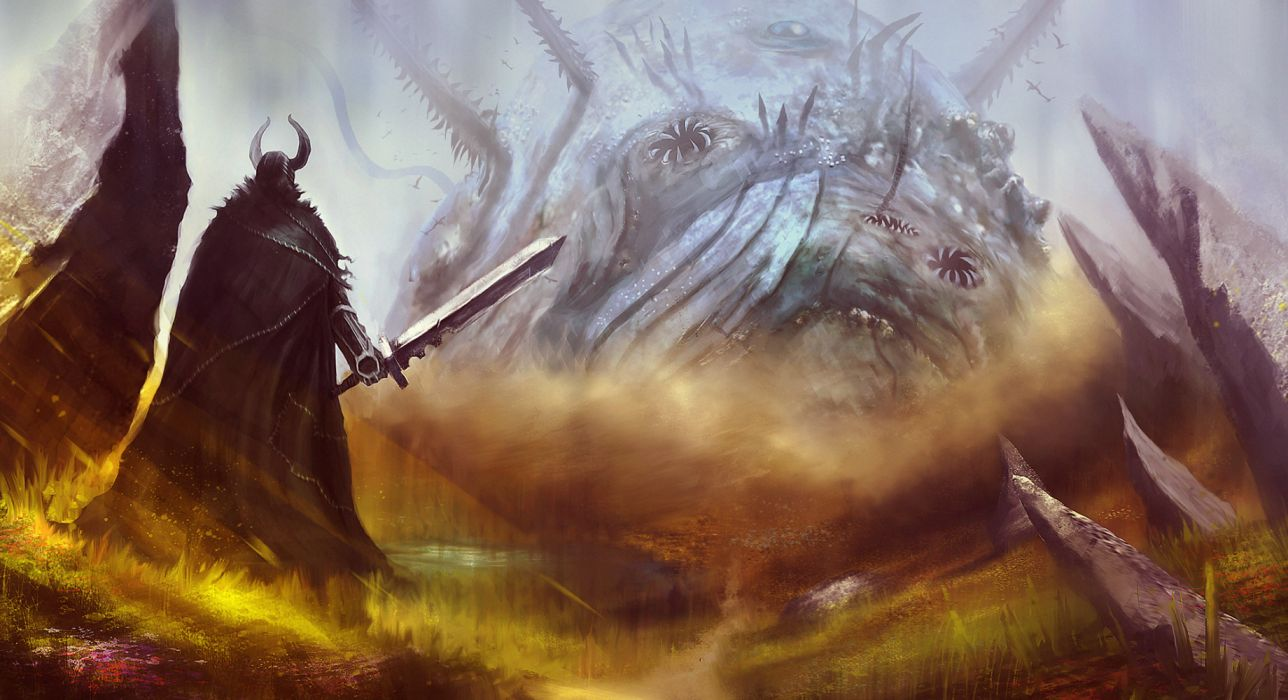 Creature Horns Knight Sword Warrior wallpaper
