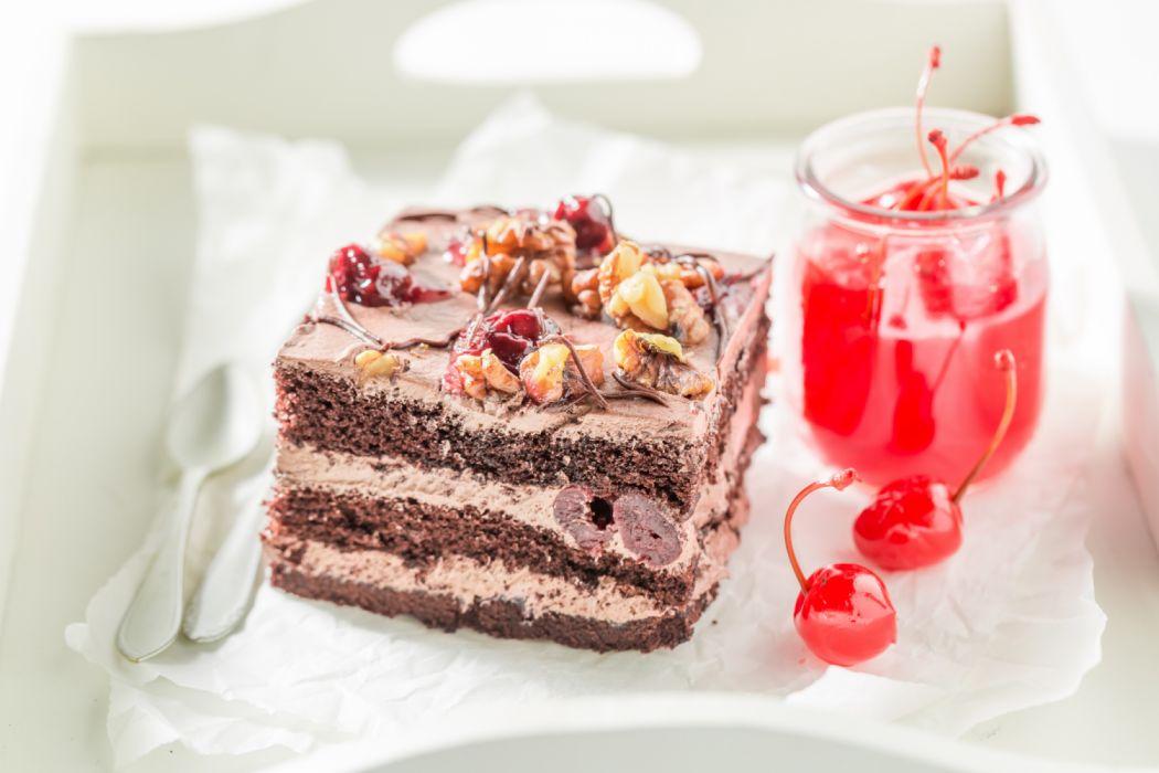 Cake Cherry Dessert Pastry wallpaper