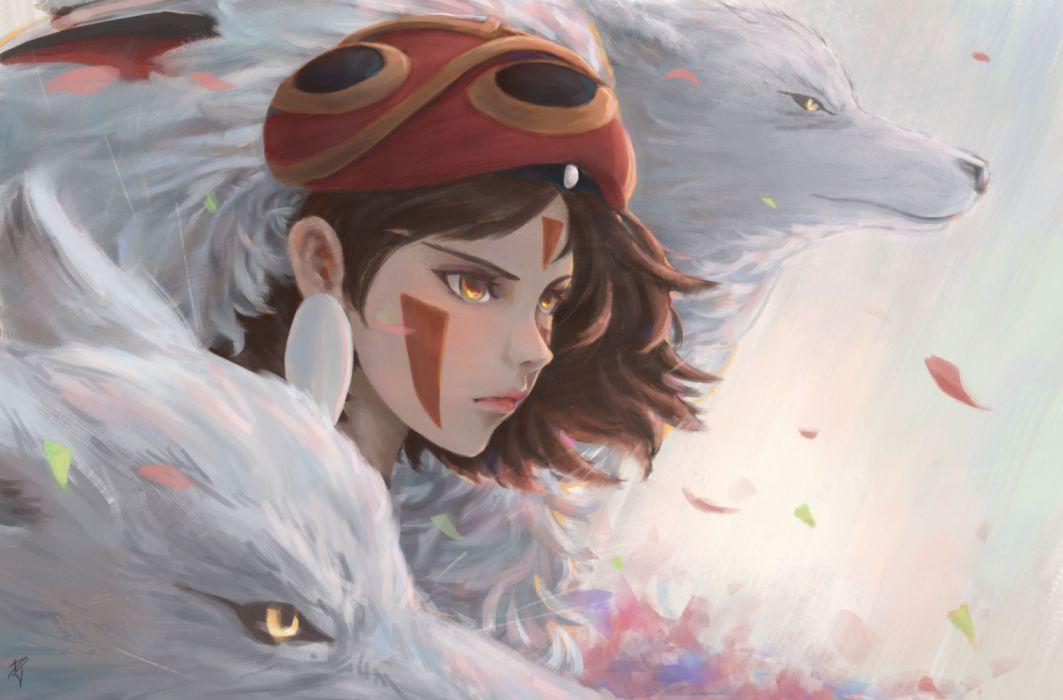 Brown Hair Girl Mask Orange Eyes Princess Mononoke Wolf Wallpaper