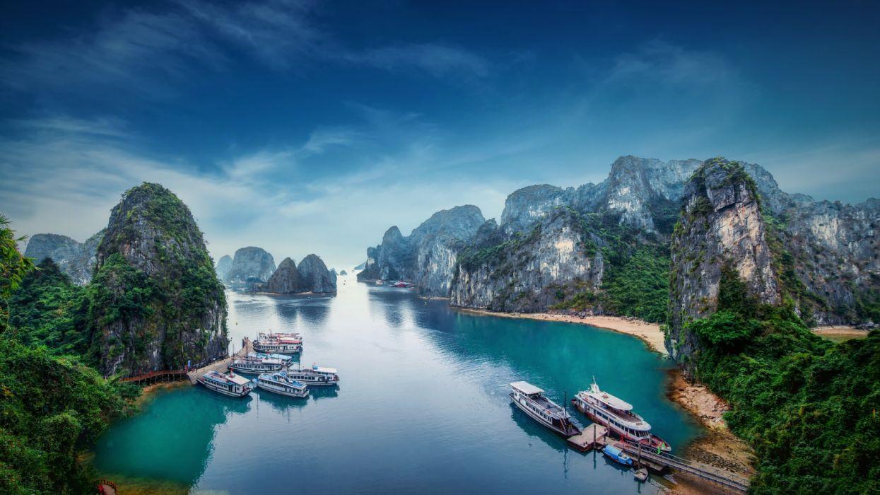 Boat Earth Ha Long Bay Mountain Rock Tree Vietnam Wallpaper