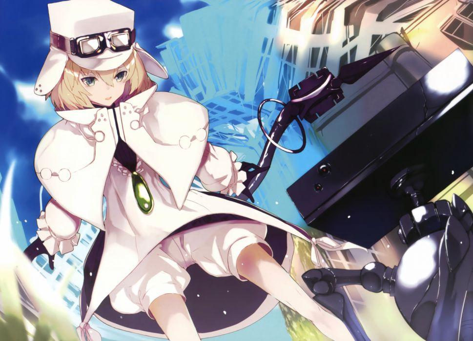 Konachan com - 260035 blonde hair bloomers gloves goggles green eyes hat scan short hair tagme (artist) witch hat wallpaper