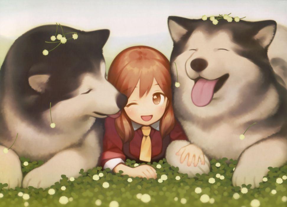 Konachan com - 260024 animal brown eyes brown hair dog gayarou original scan tie twintails wallpaper