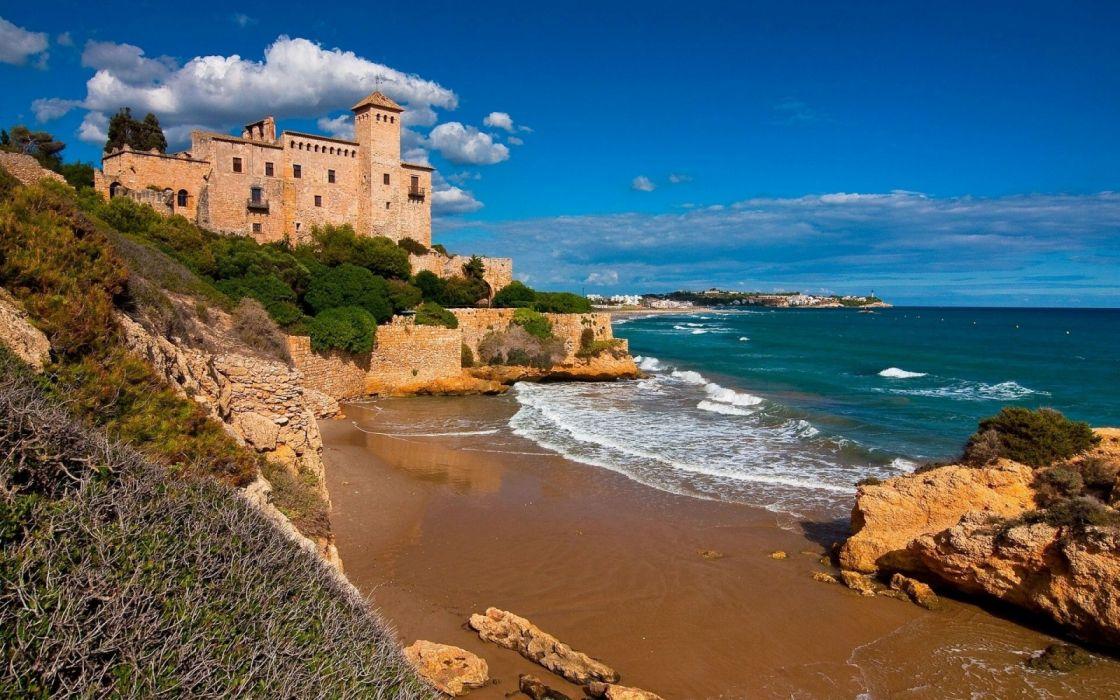 tamarit castle tarragona costa dorada catalonia spain beach wallpaper