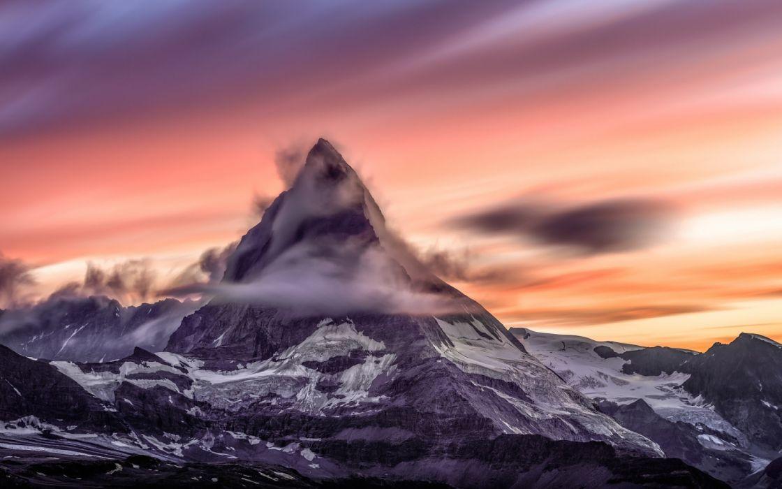 Switzerland Matterhorn Mountainsmg Long Exposure Clouds wallpaper