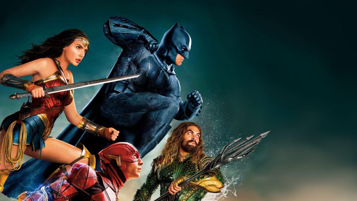 Aquaman Arthur Curry Barry Allen Batman Ben Affleck Bruce Wayne Diana of Themyscira Ezra Miller Flash Gal Gadot Jason Momoa Justice League Justice League (2017) Superhero Sword Trident Wonder Woman wallpaper