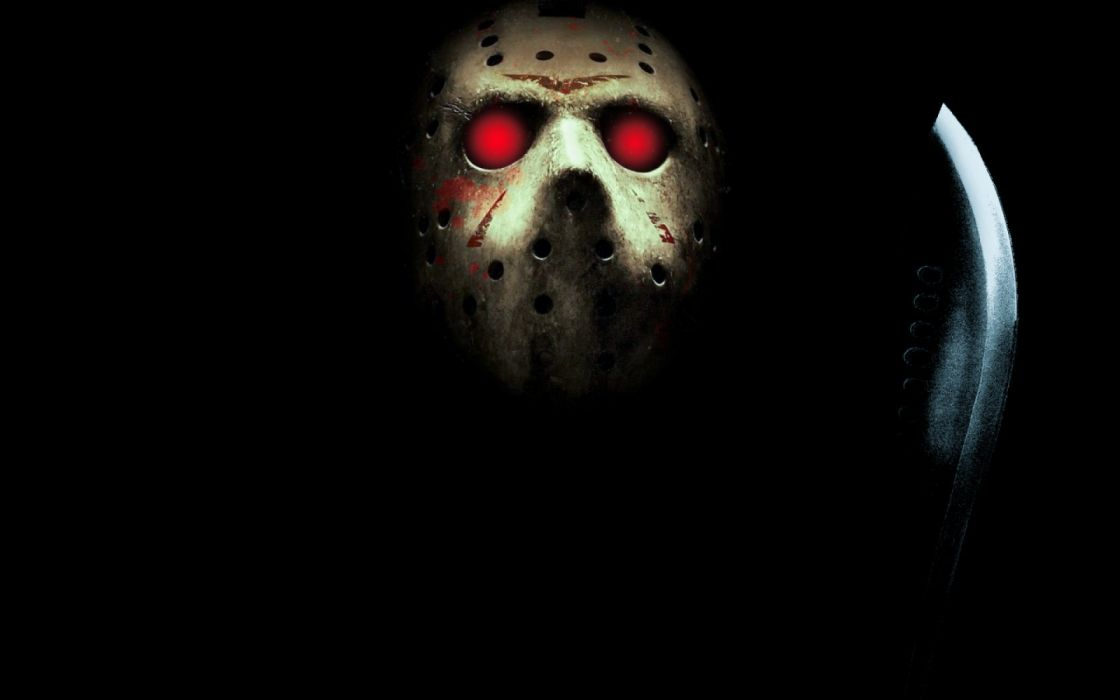 Friday The 13th Jason Voorhees Machete Mask Red Eyes