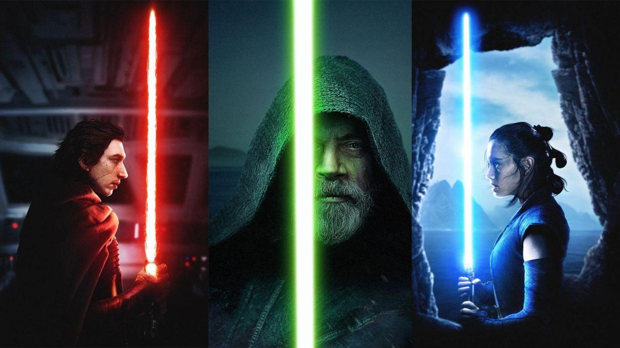 Adam Driver Daisy Ridley Kylo Ren Lightsaber Luke Skywalker Mark Hamill Rey (Star Wars)