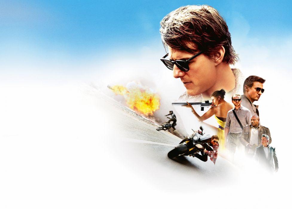 Jeremy Renner Mission Impossible Rogue Nation Rebecca Ferguson Simon Pegg Tom Cruise Ving Rhames wallpaper