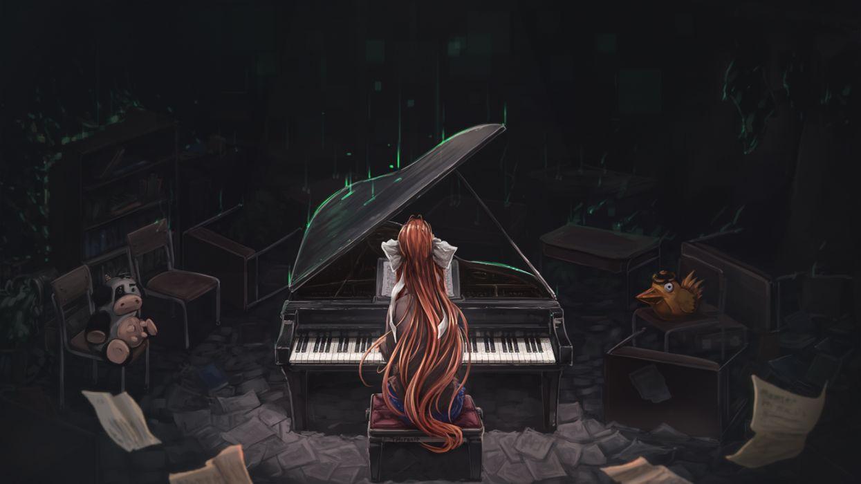 Konachan com - 261036 bow dark doki doki literature club! instrument long hair monika (ddlc) paper piano ponytail red hair signed tagme (artist) wallpaper