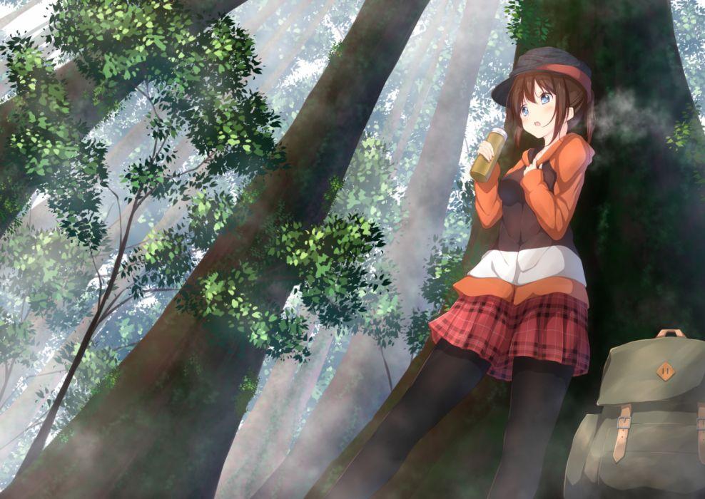 Konachan com - 260927 aqua eyes brown hair drink forest hat hoodie long hair numpopo original pantyhose ponytail skirt tree wallpaper