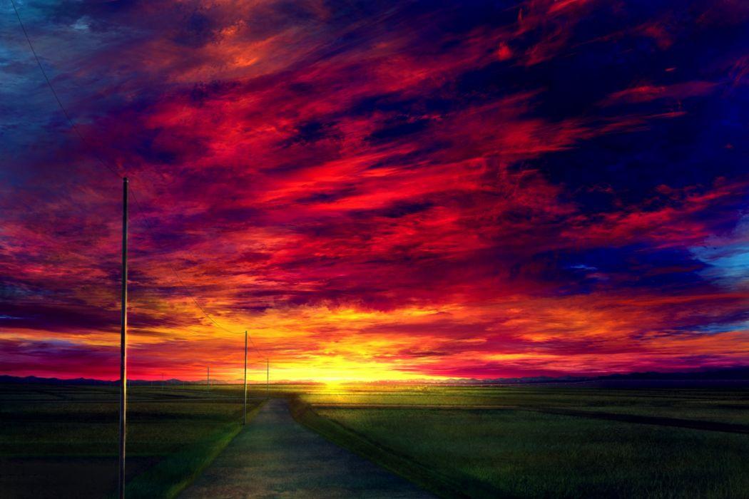 Konachan com - 260891 clouds grass landscape mks nobody original scenic sky sunset wallpaper