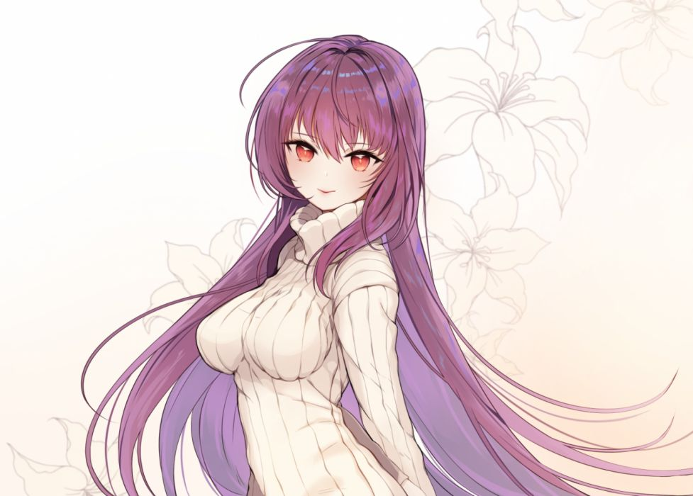 Gilr with purple hair with big boobs Konachan Com 260896 Breasts Dress Fate Grand Order Fate Series Flowers Gradient Laurelfalcon Long Hair Purple Hair Red Eyes Scathach Fate Grand Order Wallpaper 1500x1075 1210703 Wallpaperup
