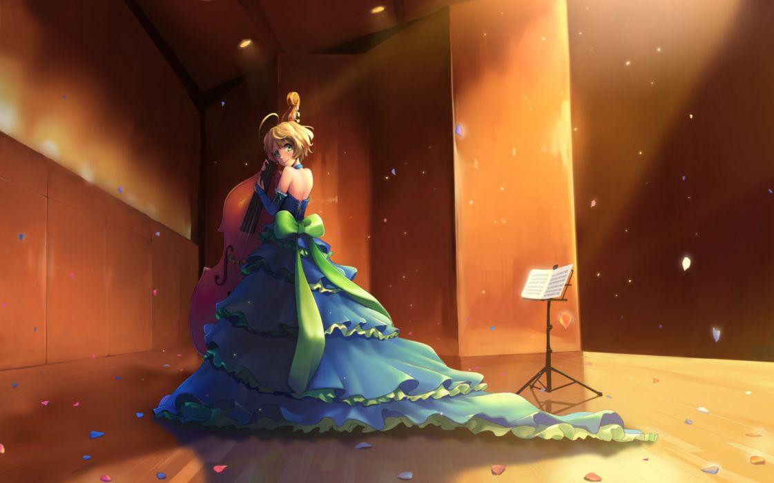 Konachan com - 260912 dress hibike! euphonium instrument kawashima sapphire petals sunga2usagi wallpaper