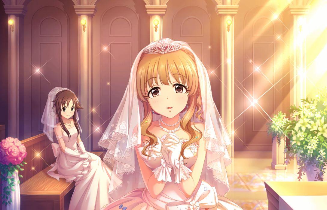Himekawa Yuki Moroboshi Kirari Church Bridal Veil Official Art Official Card Illustration Idolmaster Cinderella Girls wallpaper
