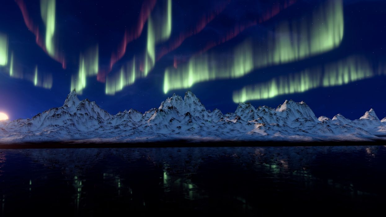 northern-lights-3840x2160-mountains-4k-17045 wallpaper