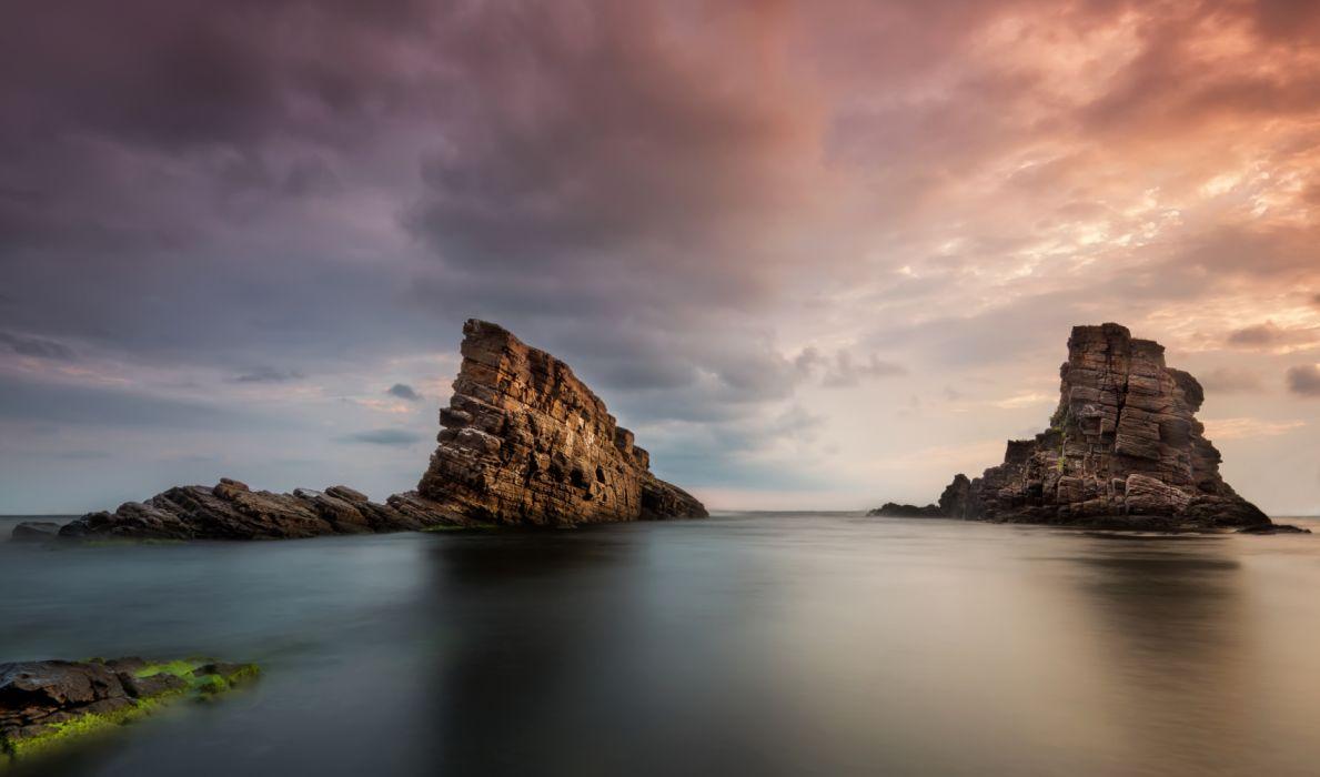 Bulgaria Sea Sky Crag Nature photo wallpaper