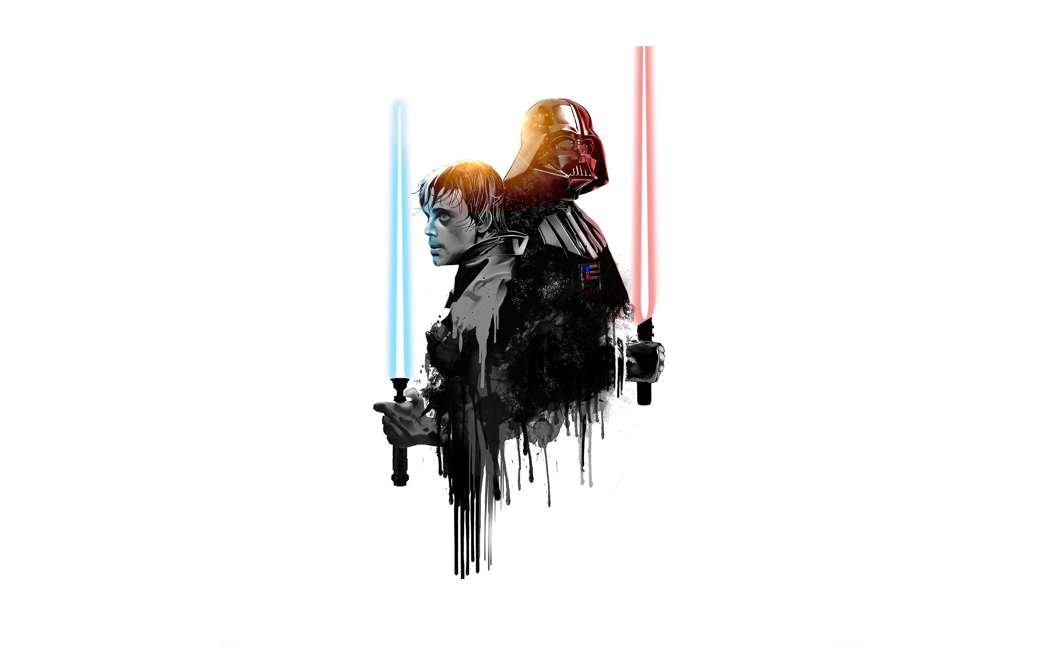 Darth Vader Lightsaber Luke Skywalker Minimalist Star Wars Wallpaper 3365x2108 1232062 Wallpaperup