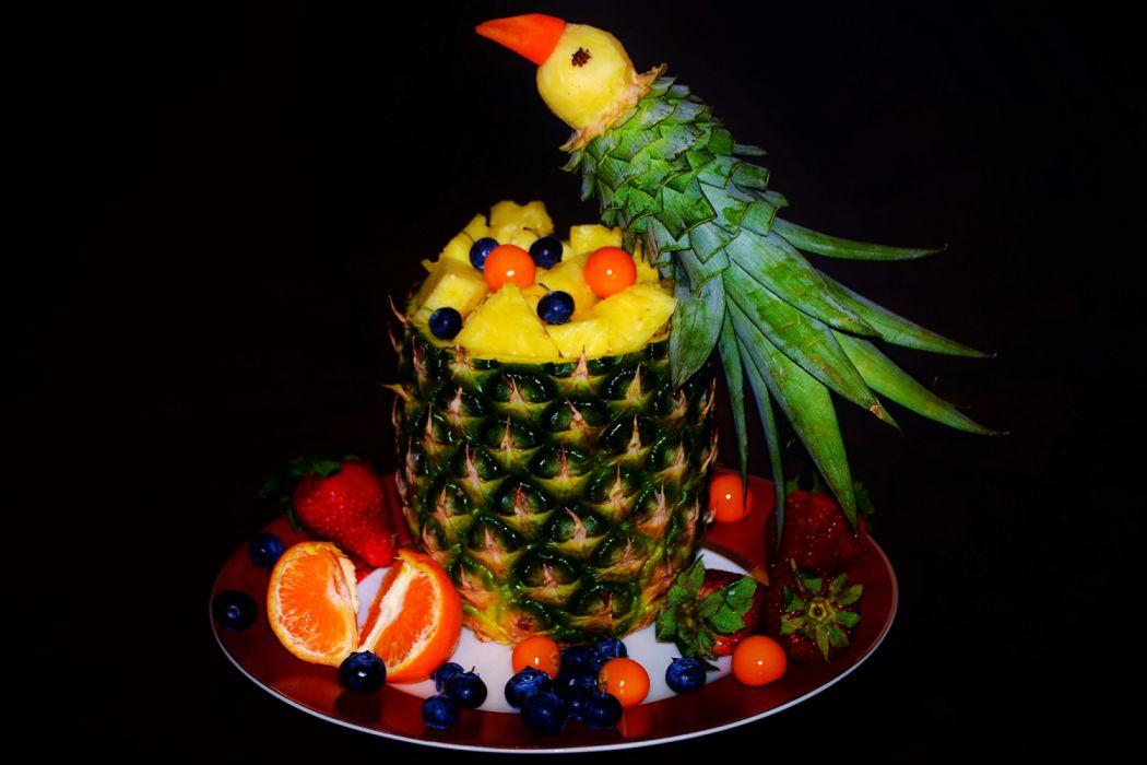 Fruit Parrots Pineapples Strawberry Blueberries Mandarine Black Background Plate Design Food Photo Wallpaper 2700x1800 1232296 Wallpaperup