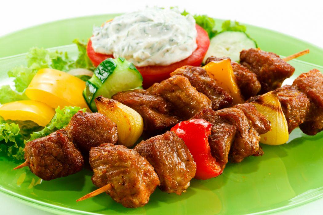 Meat products Shashlik Vegetables Food photo wallpaper