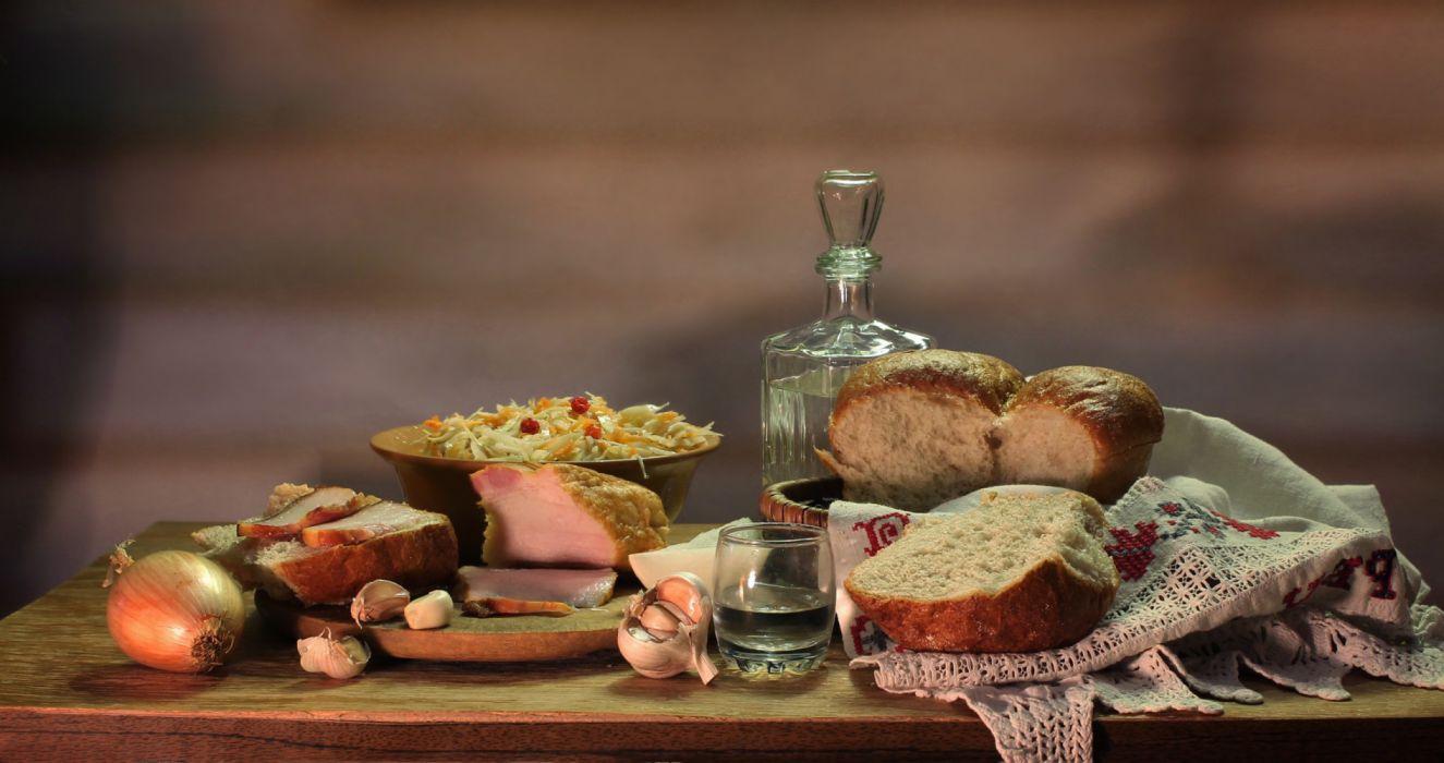 Still-life Vodka Bread Ham Onion Garlic Shot glass Food photo wallpaper