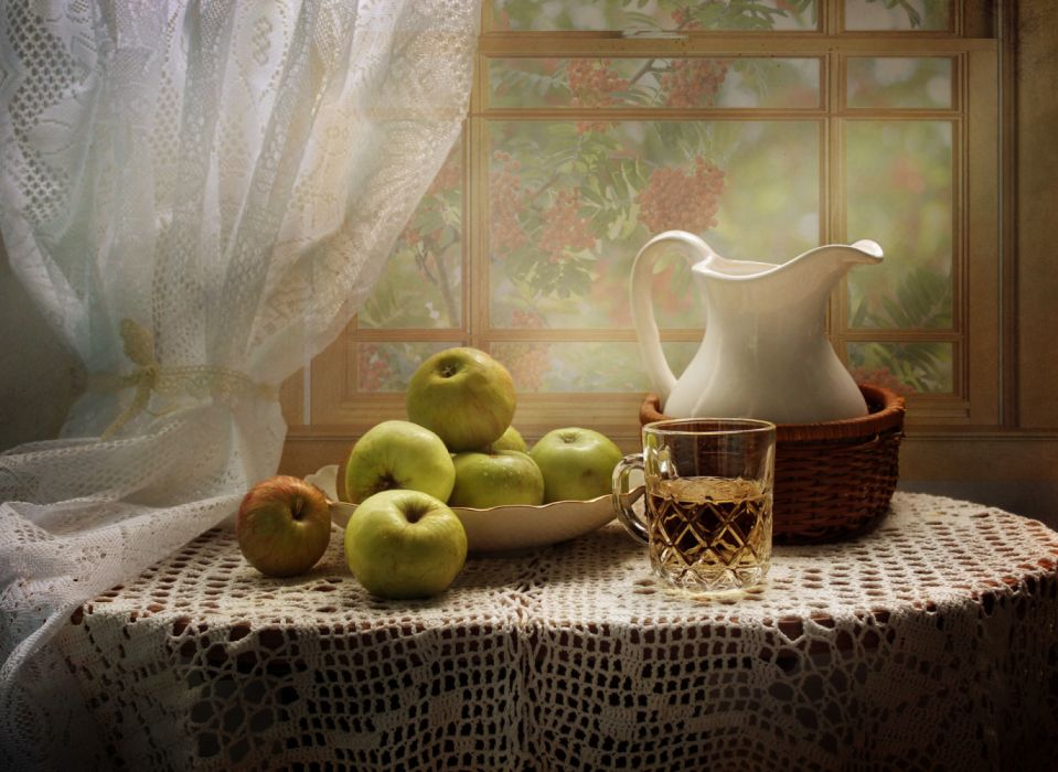 Still-life Juice Apples Jug container Highball glass Table Wicker basket Food photo wallpaper