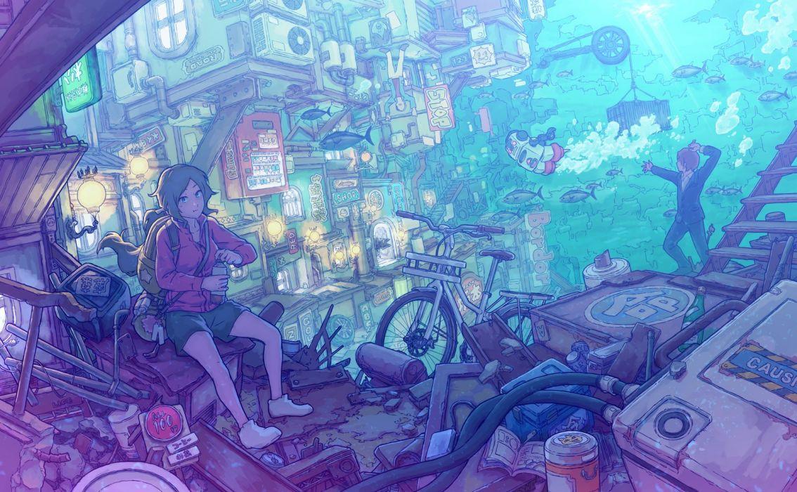 Konachan com - 262017 building junpei (juntonanotukunanika) male original underwater water wallpaper