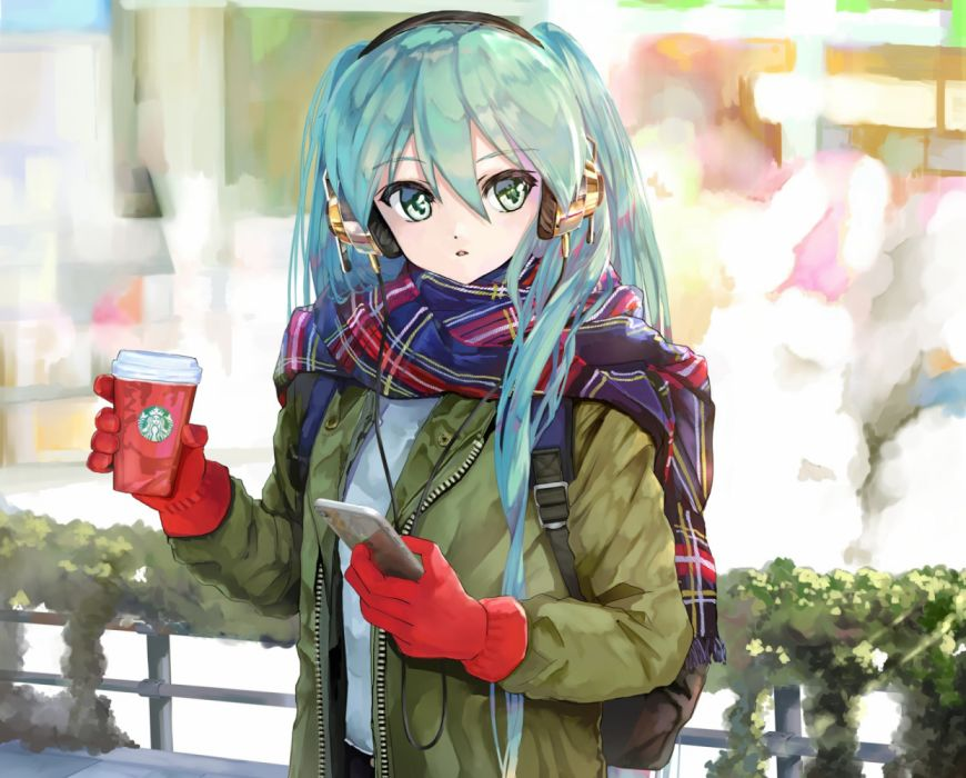 Konachan com - 262035 drink gloves hatsune miku headphones phone scarf takepon1123 vocaloid wallpaper