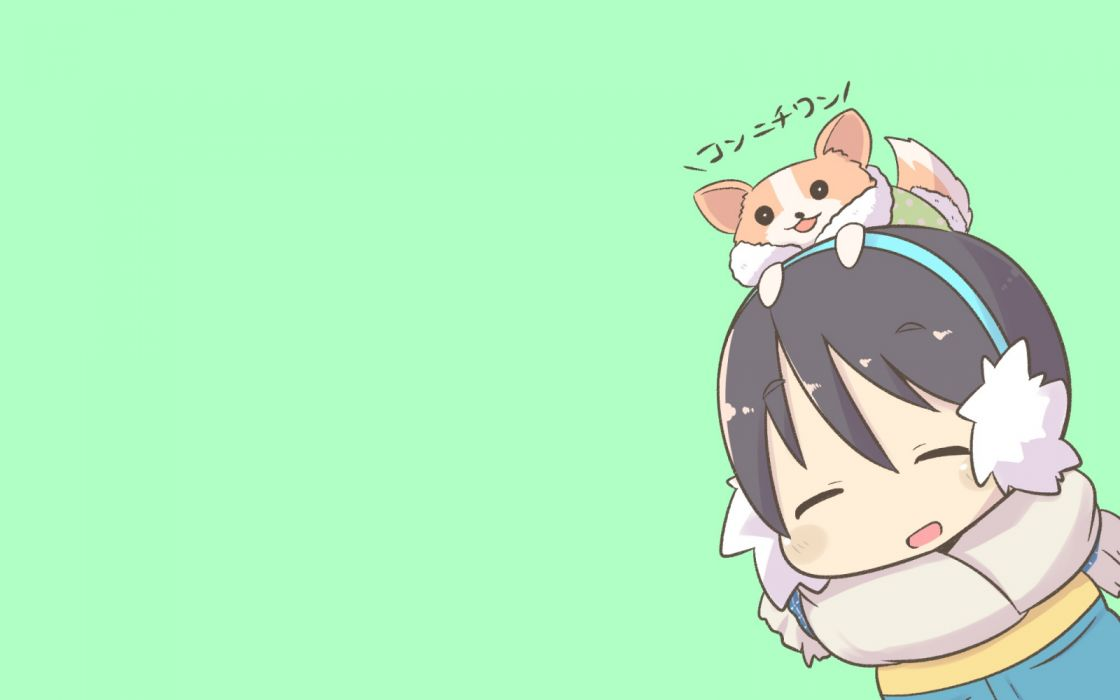 Konachan com - 261397 animal black hair blush chibi dog earmuffs green inishie saitou ena scarf short hair translation request yuru camp wallpaper