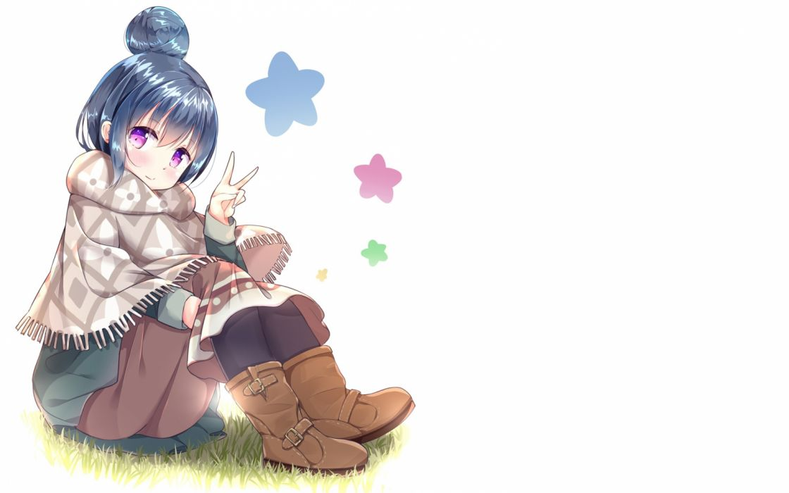 Konachan com - 261401 blue hair boots cape grass purple eyes shima rin short hair wari (nirodo26) white yuru camp wallpaper