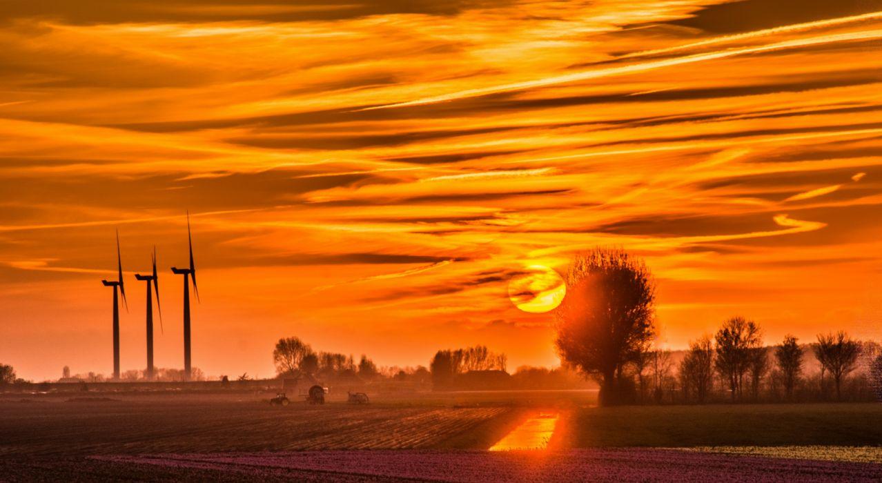 bonito amanecer molinos aerolicos nubes naturaleza wallpaper