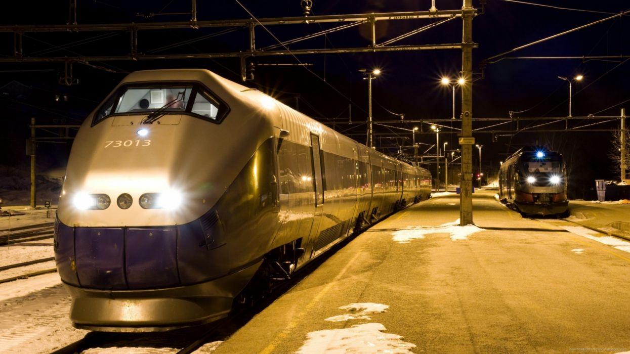 moderno tren alta velocidad estacion noche wallpaper